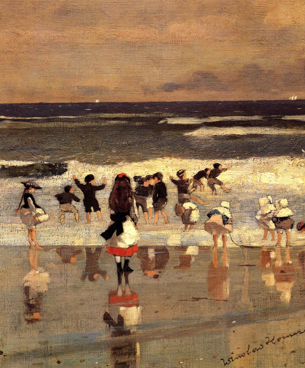 Beach Scene (aka Children in the Surf) 1869 | Homer Winslow | Oil Painting