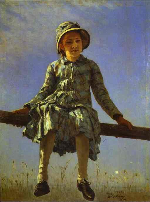 Dragon Fly Portrait Of Vera Repina The Artists Daughter 1884 | Ilya Repin | Oil Painting