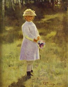 Girl With Flowers Daughter Of The Artist 1878 | Ilya Repin | Oil Painting