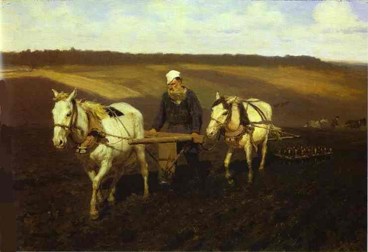 Portrait Of Leo Tolstoy As A Ploughman On A Field 1887 | Ilya Repin | Oil Painting