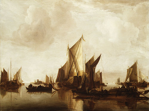 A State Yacht and Other Craft in Calm Water | Jan van de Cappelle | Oil Painting
