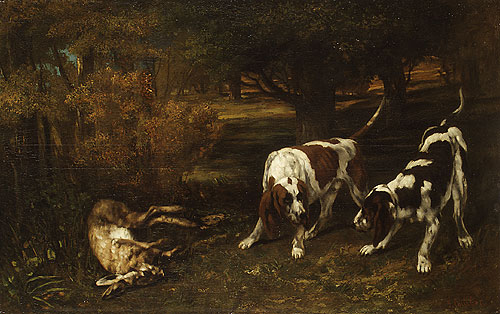 Hunting Dogs with Dead Hare 1857 | Jean Dir Gustave Courbet | Oil Painting