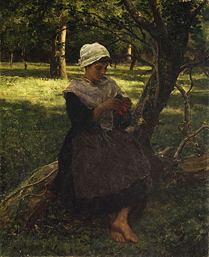 A Peasant Girl Knitting 1873   Jules Breton   Oil Painting