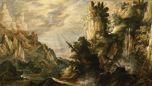 A Mountainous Landscape with a Waterfall probably ca 1600 | Kerstiaen de Keuninck | Oil Painting
