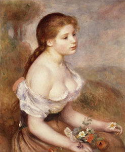 A Young Girl with Daisies 1889 | Pierre Auguste Renoir | Oil Painting
