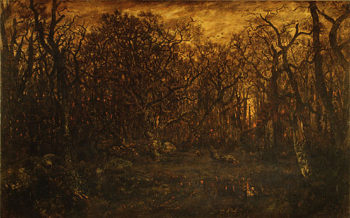 The Forest in Winter at Sunset 1845 | Pierre etienne Thedore Rousseau | Oil Painting