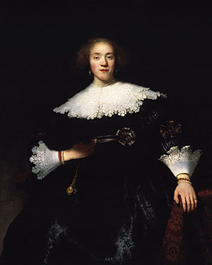 Portrait of a Young Woman with a Fan 1633 | Rembrandt | Oil Painting