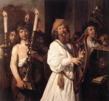 David Playing The Harp 1670   Jan De Bray   Oil Painting