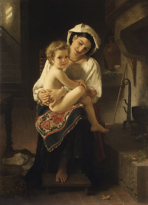 Young Mother Gazing at Her Child 1871 | Adolphe William Bouguereau | Oil Painting