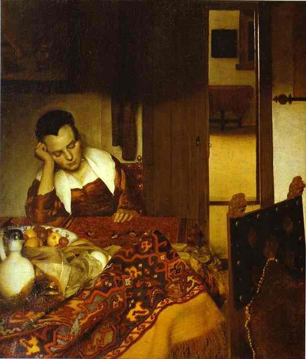 Girl Asleep At A Table 1657 | Jan Vermeer | Oil Painting