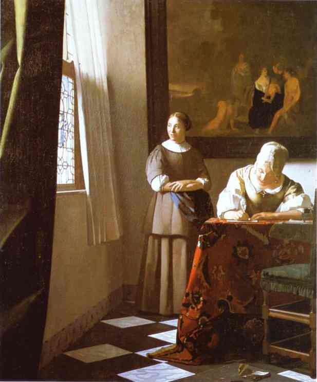 Lady Writing A Letter With Her Maid 1670 | Jan Vermeer | Oil Painting