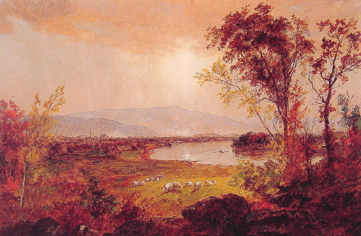 A Bend in the River   Jasper Francis Cropsey   Oil Painting