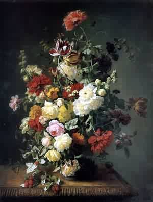 A Still Life WIth Flowers and Wild Raspberries | Jean Paul Saint | Oil Painting