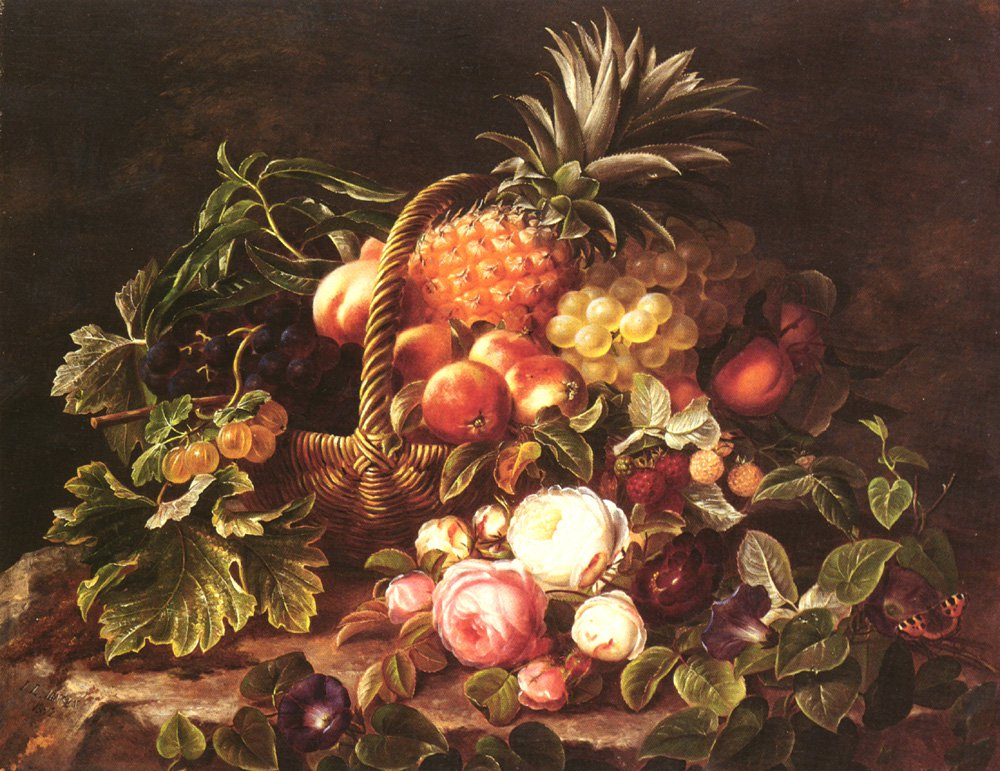 A Still Life Of A Basket Of Fruit And Roses | Johan Laurentz Jensen | Oil Painting