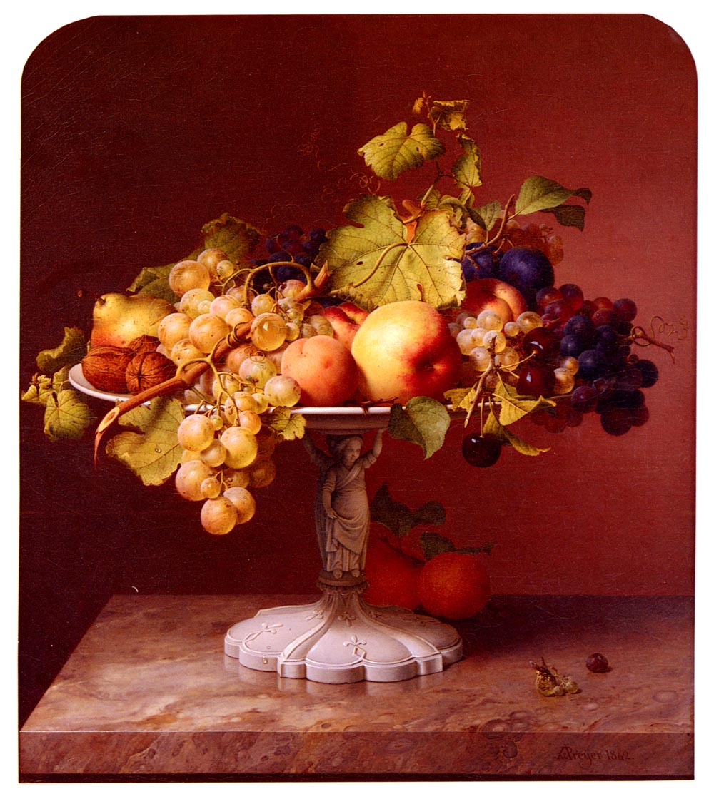 A Still Life With A Bowl Of Fruit On A Marble Table | Johann Wilhelm Preyer | Oil Painting