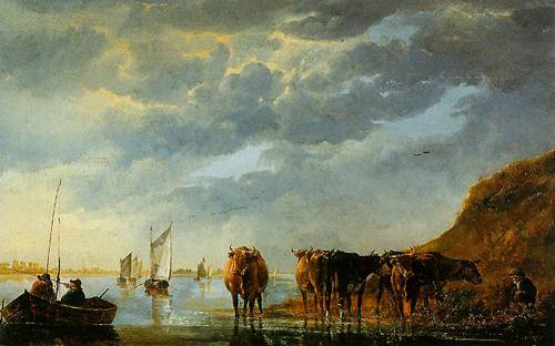 A Herdsman With Five Cows By A River 1650-1655 | Aelbert Cuyp | Oil Painting