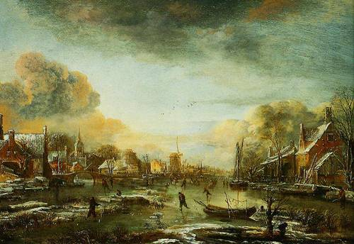A Frozen River By A Town At Evening 1665 | Aert Van Der Neer | Oil Painting