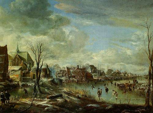 A Frozen River Near A Village With Golfers And Skaters 1648 | Aert Van Der Neer | Oil Painting