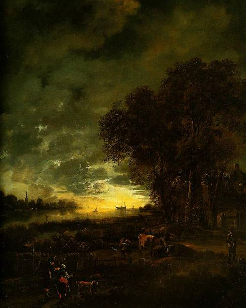 A Landscape With A River At Evening 1650 | Aert Van Der Neer | Oil Painting