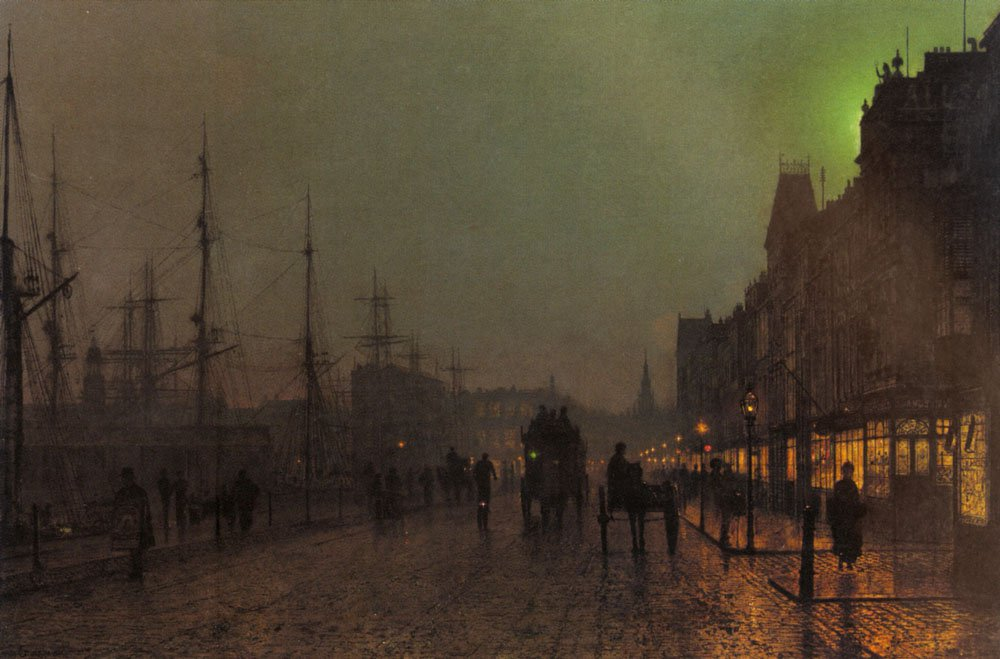 Gourock Near The Clyde Shipping Docks   John Atkinson Grimshaw   Oil Painting