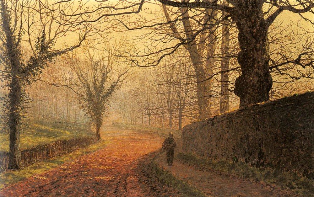 November Afternoon Stapleton Park   John Atkinson Grimshaw   Oil Painting
