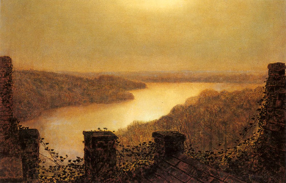 Roundhaylake From Castle   John Atkinson Grimshaw   Oil Painting