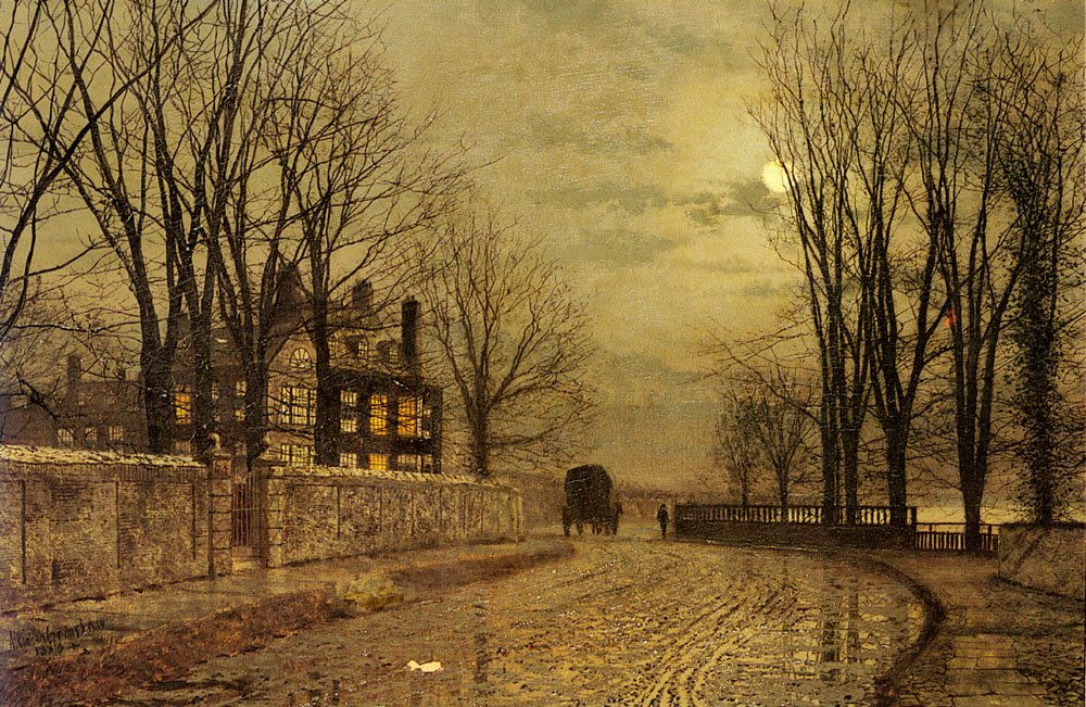 The Turn Of The Road   John Atkinson Grimshaw   Oil Painting