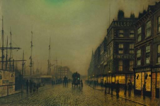 Liverpool Quay by Moonlight   John Atkinson Grimshaw   Oil Painting
