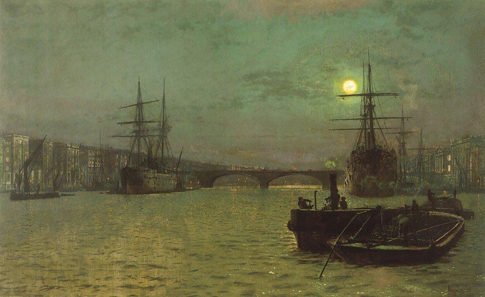 London Bridge-Half Tide   John Atkinson Grimshaw   Oil Painting