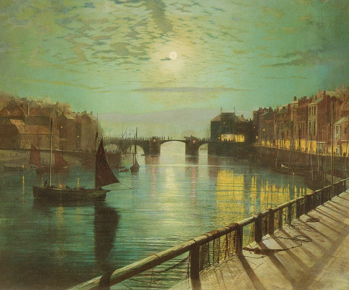 Whitby Harbour By Moonlight 1867   John Atkinson Grimshaw   Oil Painting