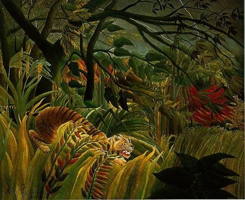 tiger in a tropical storm surprised 1891 painting henri rousseau