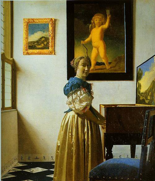 A Young Woman Standing At A Virginal 1670 | Jan Vermeer | Oil Painting