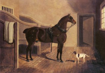 A Favorite Coach Horse And Dog In A Stable | John Frederick Snr Herring | Oil Painting