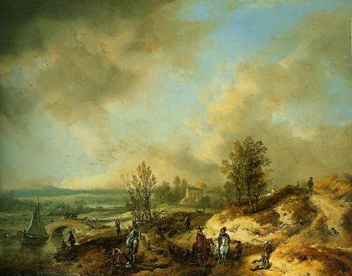 A Dune Landscape With A River And Many Figures 1660-1668 | Philips Wouwermans | Oil Painting