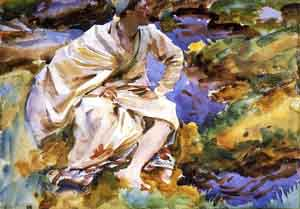 A Man Seated by a Stream Val DAosta Pertud 1907 | John Singer Sargent | Oil Painting