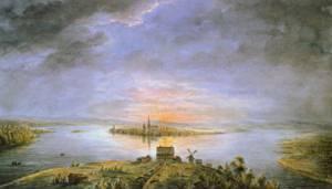 Midnight Sun over Tornea   Ander Fredrik Skjoldebrand   Oil Painting