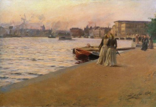 View from the Skeppsholmen Quay 1890   Anders Zorn   Oil Painting