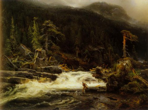 Waterfall in Lower Telemark 1852   August Cappelen   Oil Painting