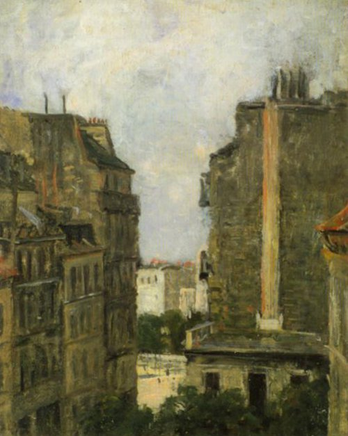 View From The Artist's Studio towards Boulevard Clichy 1870   Berndt Lindholm   Oil Painting