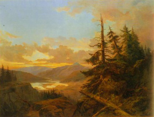Norwegian Landscape at Dawn 1863   Charles XV   Oil Painting