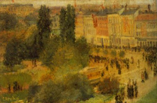 From Eidsvold Square (Karl Johan Street Impression) 1883 | Christian Krogh | Oil Painting