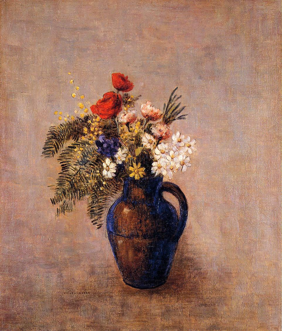 Bouquet of Flowers in a Blue Vase 1905-1910   Odilon Redon   Oil Painting