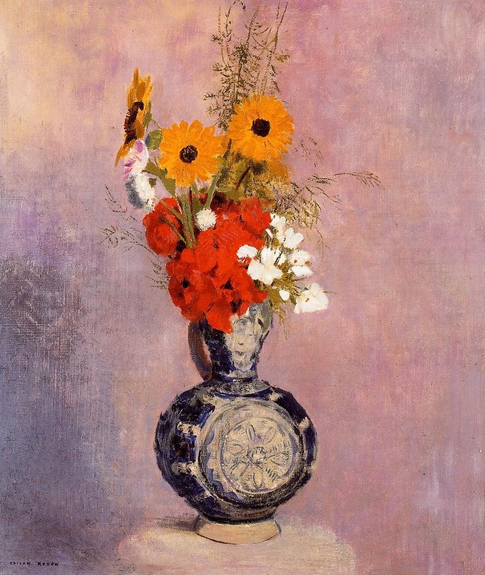 Bouquet of Flowers in a Blue Vase   Odilon Redon   Oil Painting