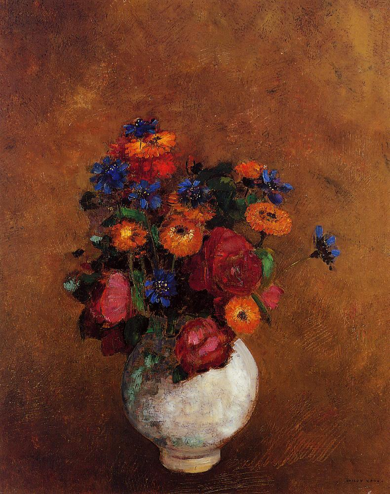 Bouquet of Flowers in a White Vase   Odilon Redon   Oil Painting
