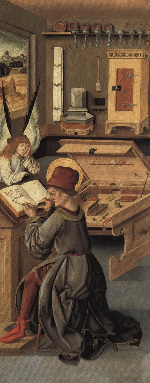 St Matthew At His Desk With His Symbol The Angel | Gabriel Malesskircher | Oil Painting