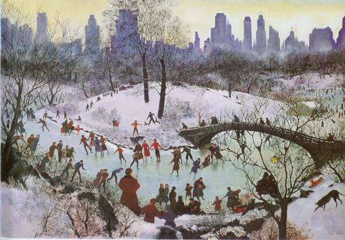 Skating In Central Park 1934 | Agnes Tait | Oil Painting