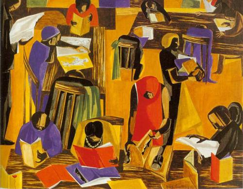 The Libary 1960 | Jacob Lawrence | Oil Painting