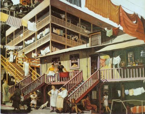 Tenement Flats 1934 | Millard Sheets | Oil Painting