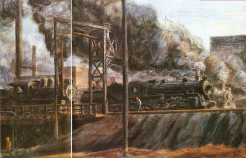 Locomotives Jersey City 1934 | Reginald Marsh | Oil Painting