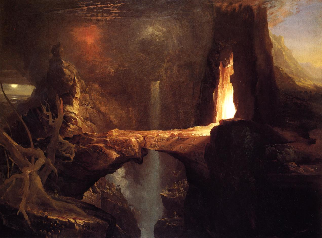Expulsion - Moon and Firelight 1828   Thomas Cole   Oil Painting